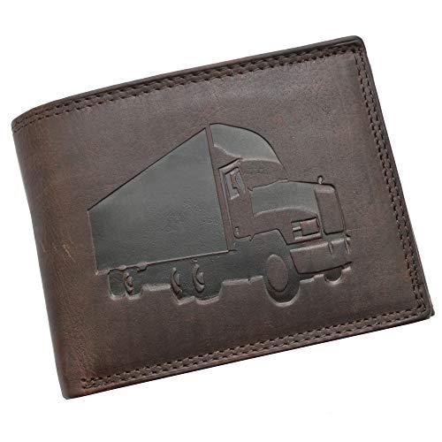 Volledig lederen portemonnee met RFID-bescherming en reliëf truck vrachtwagen afstandsbestuurder portemonnee portemonnee portemonnee