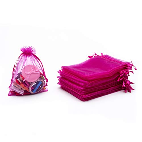 Tendwarm 50PCS 5X7 Inches Drawstring Organza Gift Bag Jewelry Favor Pouches mesh Bags Drawstring Candy Bags (Hot Pink)