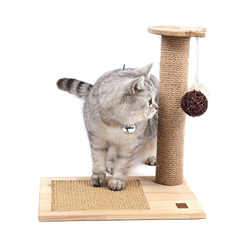SWEET DEVIL Árbol Rascador para Gatos con Poste Rascadore y 2 Bolas Colgantes Juguete de Gato Sisal Natural,Medio,42 cm de Altura