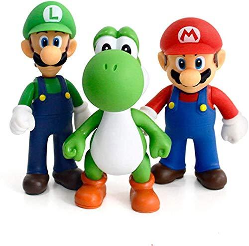 baikangsheng Super Mario Toys, Mario Bros Luigi, Mario, Yoshi Action Figures Toy Birthday Gifts Head , Hand rotated 360°