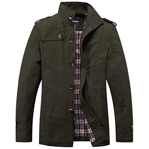 Wantdo Men's Casual Cotton Jacket Autumn Outdoor Windproof Jackets Classic Full-Zip Jacket Outdoor Outerwear Coat