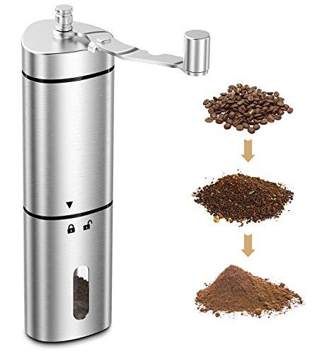 Babacom Kaffeemühle Manuell, Tragbare Coffee Grinder mit Präziser Mahlgradeinstellung, Retro Handkaffeemühle aus Edelstahl mit Konisches Keramikmahlwerk für Espresso, French Press, Filterkaffee