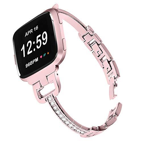 Gimartuk - Correa de repuesto para Fitbit Versa/Versa 2/Versa Lite para mujer y niñas con diamantes de imitación de metal, correa de repuesto para Fitbit Versa/Versa 2/Versa SE (rosa rosa)