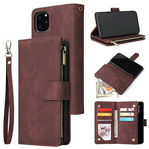 Caso del tirón del teléfono Caja de la billetera para iPhone 11pro, Premium Soft PU Cuero con cremallera de cuero Flip Folio Wallet con tarjeta de muñeca Tarjeta de tragamonedas Caso protector para iP
