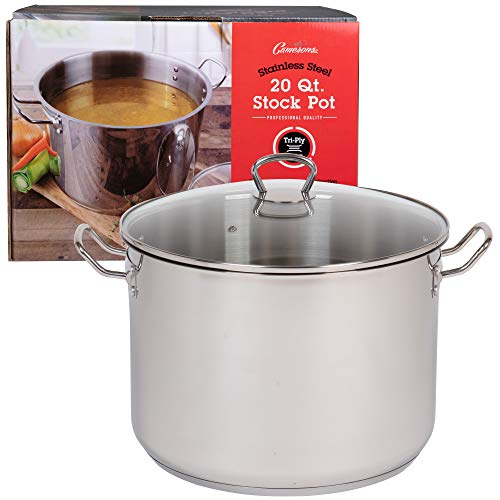 20 Quart Stockpot- Tri-Ply Stainless Steel Stock Pot- Commercial Grade Sauce Pot for Canning w Stick Resistant Interior, Stay Cool Handles and Induction Compatible - Great Mother's Day Gift