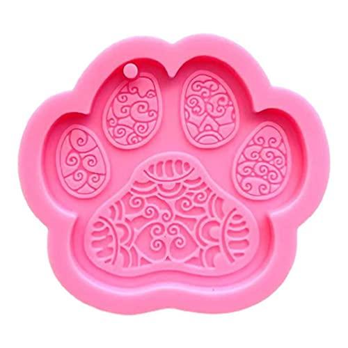 Abcidubxc Bonito llavero con forma de huella de perro, con forma de pezuña, de resina epoxi,...