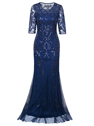 Vijiv Vintage 1920s Long Wedding Prom Dresses 2/3 Sleeve Sequin Party Evening Gown,XX-Large,Blue