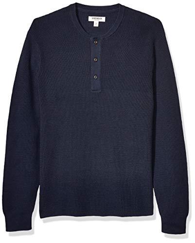 Amazon Brand - Goodthreads Men's Soft Cotton Henley Sweater, Navy Medium