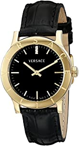 Versace Women's VQA030000 'Acron' Diamond-Accented Gold-Plated Watch with Black Leather Band image