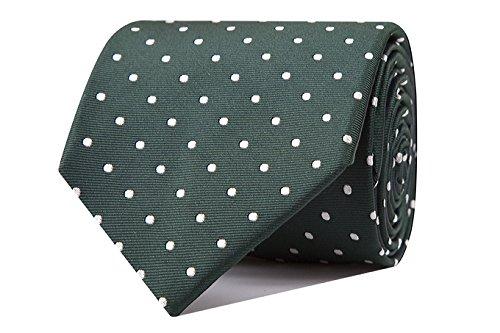Sologemelos - Cravate Pois - Vert 100% soie naturelle - Hommes - Taille Unique - Confection artesanale Made In Italy