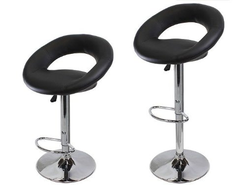 TMS Set of 2 Synthetic Leather Modern Adjustable Swivel Barstools Hydraulic Chair Bar Stools (Coffee Brown)