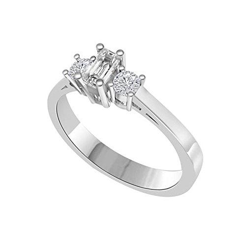 0.75ct F/VS1 Diamante Trilogy Anello da Donna con Smeraldo & Rotonda Brillante diamanti in 18kt Oro bianco
