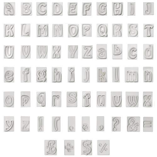 Formine per biscotti (Set da 64) - Plastica Senza BPA A alla Z Formine Lettere Alfabeto (2cm), 26 Lettere Maiuscole, 26 Lettere Minuscole e 12 Simboli per Biscotti, Decorazione Torte