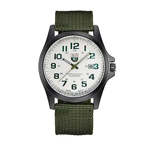 MUTYLRR Reloj de Hombre Reloj del Deporte Militar Correa Tejida de Nylon Calendario Hombres de la Moda de Cuarzo Reloj de Cuarzo Reloj de Pulsera de Negocios Reloj de Mujer (Color : C)