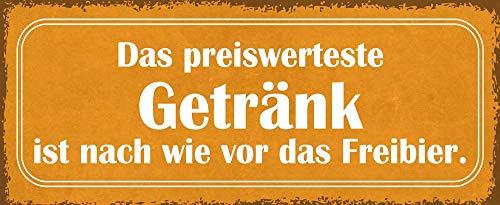 Deko7 blikken bord 27 x 10 cm Spreuk: De voordeligste drank is nog steeds het bierbeer