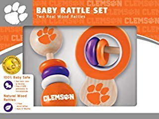MasterPieces NCAA Clemson Tigers, Natural Wood, Non-Toxic, BPA, Phthalates, & Formaldehyde Free, Baby Rattle, 2 Pack