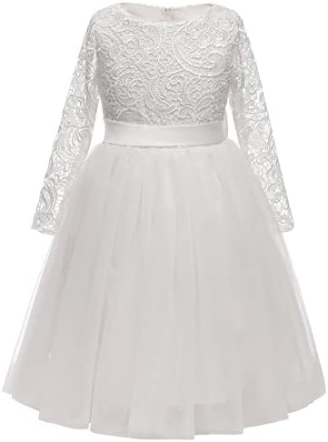 Flower Girl Dress Long Sleeves Lace Top Tulle Skirt Girls Lace Party Dresses Size 6 White product image