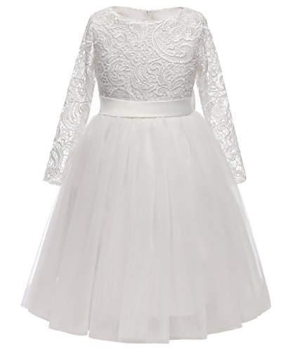 Flower Girl Dress Long Sleeves Lace Top Tulle Skirt Girls Lace Party Dresses (Size 4,White)