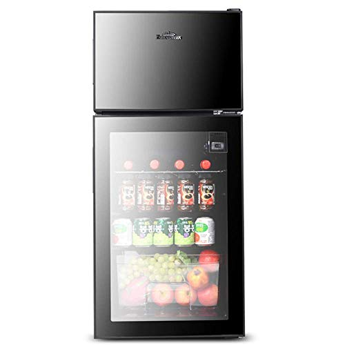 Refrigerador de vino Refrigerador / enfriador, partición doble: área de vino + congelador, ajuste de temperatura de 5 velocidades, refrigerador de mesa con puerta de vidrio, apto para bar de hotel, c