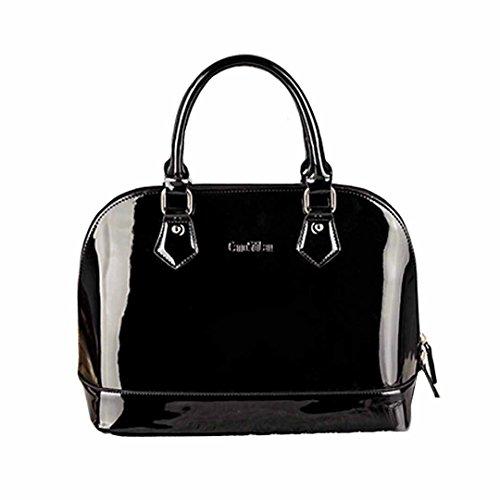 AiSi Damen Lack Leder Handtasche/Damenhandtasche/Schultertasche/Crossbody Bag/Umhängetaschen/Henkeltasche mit Reißverschluss Schwarz
