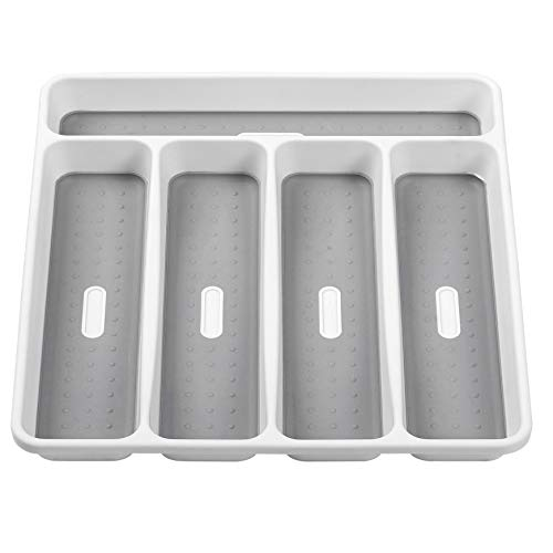 Youmine Silverware Bandeja tenedor colección de 5 compartimentos con forro de agarre suave de plástico para cubiertos