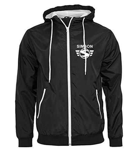 Artshirt Factory Simson Wind-Jacke M2, Farbe: Schwarz/Weiß, Größe: L