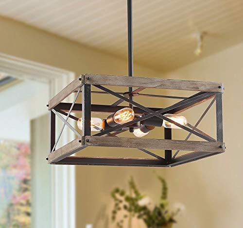 LNC Farmhouse Chandelier Rustic Wood Cage Square Light Fixture for Dining & Living Room, Bedroom, Foyer, Entryway and Kitchen Island, Brown