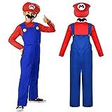 ZSWQ Disguise Mario Classic Disfraces Super Mario Gorra + pantalón + Barba - Traje Conjunto para Adultos Carnaval y Cosplay (Talla 130-150cm)
