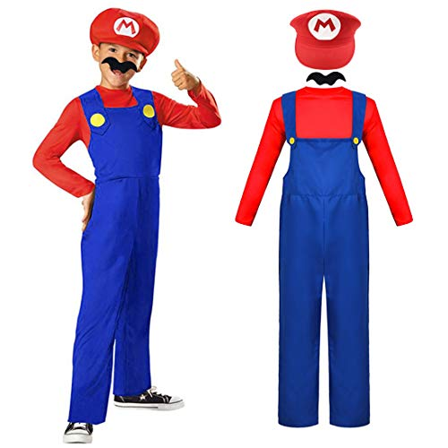 ZSWQ Super Mario Classic Mario Fancy Dress Costume Super Mario Mütze + Hose + Bart - Kostüm-Set für Kind - perfekt für Fasching, Karneval & Cosplay (130-150cm Körpergröße)