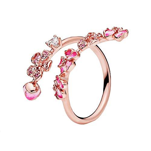 Pandora Rosé Ring mit Pfirsichblütenzweig, rosa Kristall, klarem und rosa Zirkonia, rosa synthetischem Saphir und rosa Emaille, 188088NCCMX-58