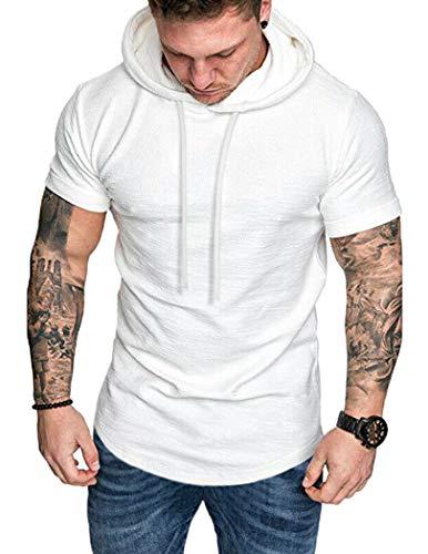 COOFANDY Herren Muskelshirt Fitness Shirt Sport Shirt Trainingsshirt Kurzarm , weiß, Gr. XL