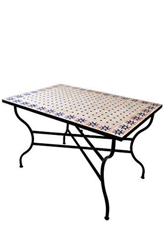 Mesa mosaico de balcón marroquí oriental mediterránea ORIGINAL - Soleil Natural/Azul, 120 x 80 cm - mesa de cocina mesa de azulejos mesa de comedor mesa de jardín mesa de terraza