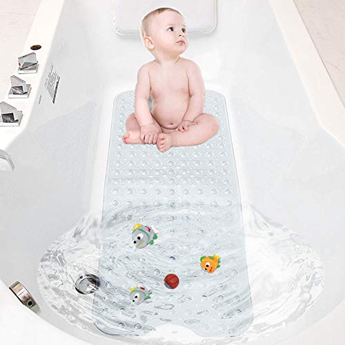 TWBEST Badewannenmatte,Duschmatte, Badematte für Badewanne, maschinenwaschbare rutschfeste Matte, extra Langer Badeeinsatz mit Ablaufloch, 40 x 100 cm (Transparent)