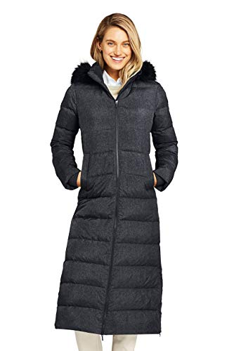 Lands' End Women's Plus Size Long Down Coat with Removable Faux Fur Hood for Winter and Fall