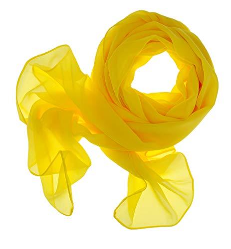 DOLCE ABBRACCIO by RiemTEX ® Schal Damen SWEET LOVE Stola Chiffon Tuch in 30 Unifarben Schals und Tücher Halstücher XXL Chiffontücher Halstuch in sattem Gelb für jede Jahreszeit (Zitronengelb)