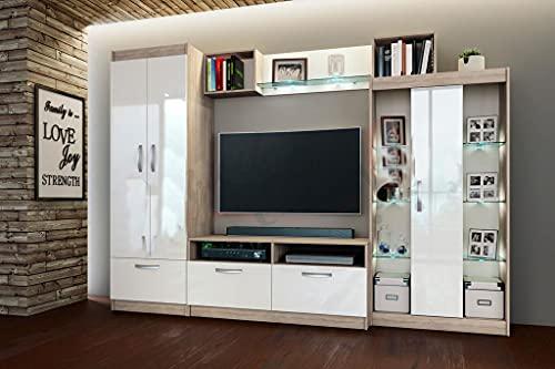 Parete Attrezzata Rovere e Bianco Lucido Moderna per Salotto Mobile TV con 3 Ante 3 Ante a Ribalta Mensole in Vetro con Led PAI2
