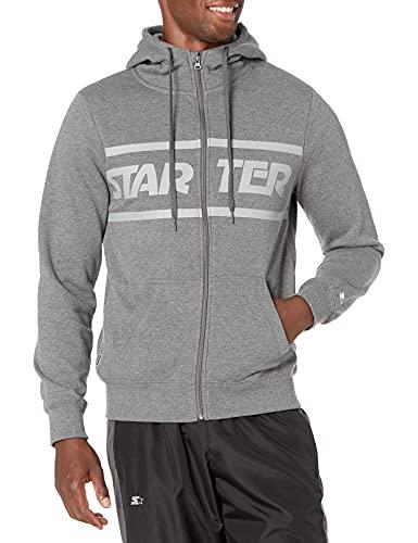 Starter Men's Zip-Up Logo Hoodie, Amazon Exclusive, Iron Grey Heather with Vapor...