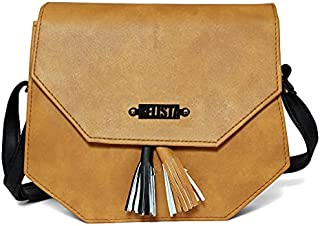 RELISTA Latest Stylish Corner Sling PU Leather Women's Handbag (Tan)