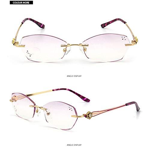 Z&HA frameloze leesbril intelligente multi-focus leesbril geschikt voor dames om te kijken naar mobiele telefoon lezen krantenbril +1.0 naar +3.0