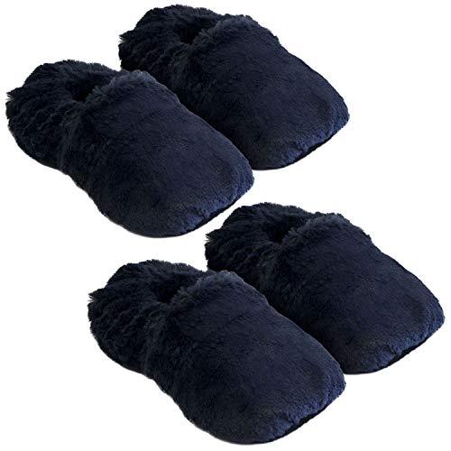 Thermo Sox 2 Paar aufheizbare Hausschuhe Gr L 41-45 Dunkelblau Marineblau Körnerpantoffeln für Mikrowelle und Ofen - Mikrowellenhausschuhe Wärmepantoffeln Wärmehausschuhe Supersoft