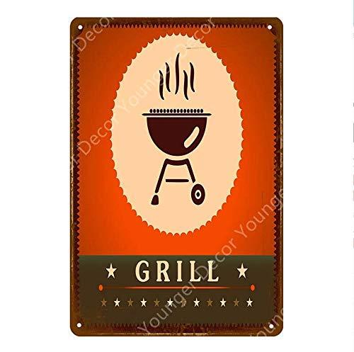 Shovv metalen bord BBQ metalen borden Family Day Grill Party Poster Steak House Foods vlees Barbecue Wandbord voor Pub Kicken Home Decor 20 * 30CM R