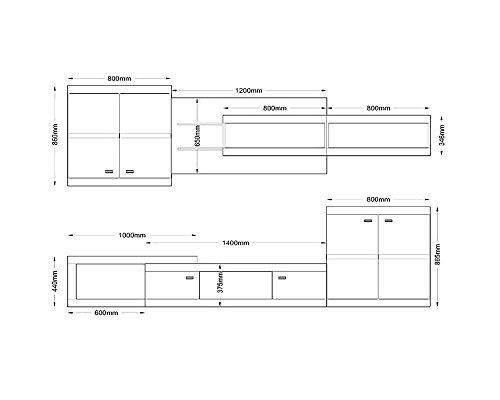Wohnwand HECTOR, Anbauwand, Wohnzimmer Möbel, mit Beleuchtung - 2