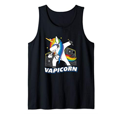 Funny Vape Vapicorn Dabbing Vaping Unicorn Vapor Mod Tank Top