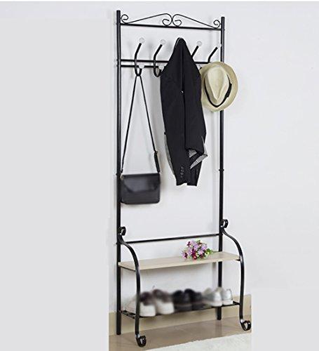 ZEMIN Porte-Manteau Métal Simple Double Étagères Cintres Boule De Crochet De Couleur Deux Couleurs en Option Haute 175cm (Color : Black)