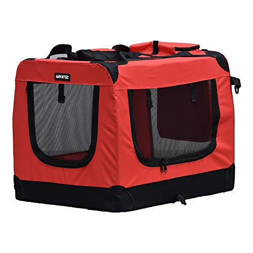 Alaskaprint Hundetransportbox Klappbare Hundebox faltbar Katzenbox Auto Transportbox Reisebox für Tiere Hunde Transporttsche mit Gurt aus wassserdichte Oxford Gwebe L Rot