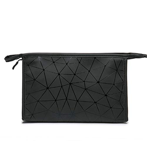 Maquillage Sac Mode Paquet Pliant PVC Sacs de Maquillage Femmes géométrique Zipper Sac cosmétique Mini Organisateur Sac étanche (Color : Black, Taille : S)