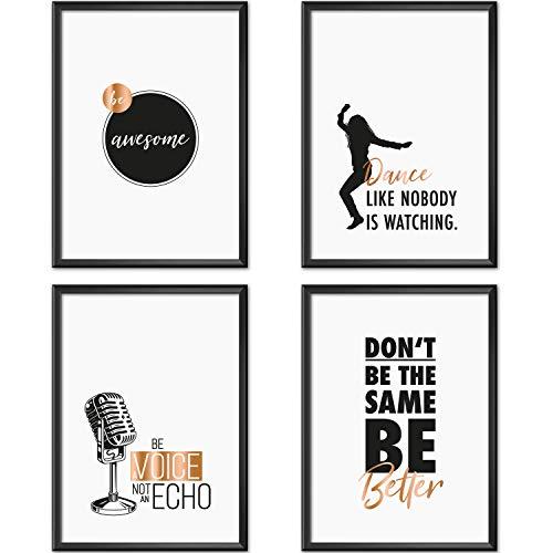 Mia Félice Poster-Set Collage DIN A4 Attitudes - schwarz-weiß Rose-Gold - Dekoration Wohnung modern - Wand-Deko Wohnzimmer - Tumblr Zimmer Wand-Bild - Wand-Bilder Schlafzimmer - ohne Bilderrahmen