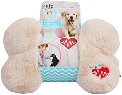 ALL FOR PAWS AFP Snuggle Heart Beat Pillow Pet Behavioral Aid Plush Toy, Heart Beat Behavioral Aid Toys for Puppies, Puppy Anxiety Relief Toy (Beige)