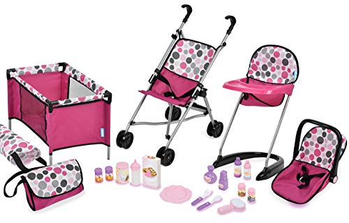 Hauck 21Piece Doll Care Set with Stroller, High Chair, Play Yd & More