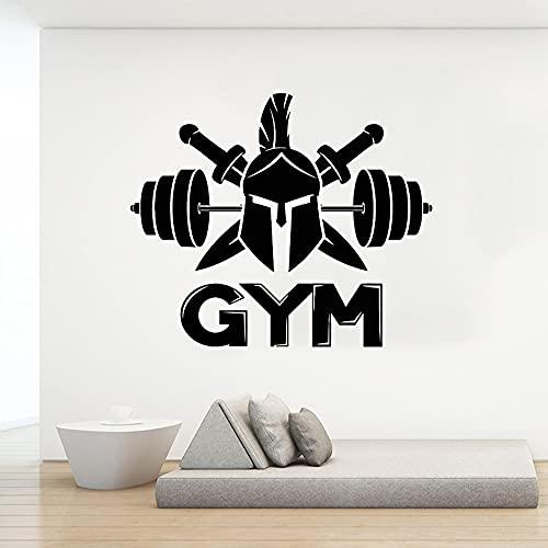 GYM Fitness Sports Logo Sign Spartan Warrior Casco Espada Barbell Vinilo Etiqueta de la pared Calcomanía Sala de entrenamiento Bodybuilding Club Decoración para el hogar Mural